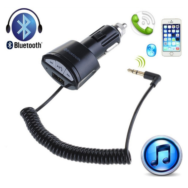 A2DP Bluetooth Wireless Car Handsfree Stereo Audio Music Receiver Adapter 3.5mm AUX AUTO with Mic USB Charger Cigarette Lighter
