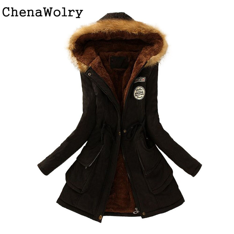 Casual Slim Fit Attractive Luxury Women Warm Long Coat Fur Collar Hooded Jacket Winter   Parka   Outwear #QJ5850