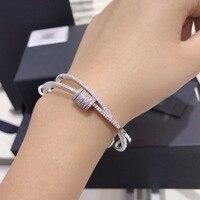 UMGODLY Luxury Double Circle Bracelet Beautiful Cubic Zirconium Fashion Sliding Bangles Women Party Jewelry