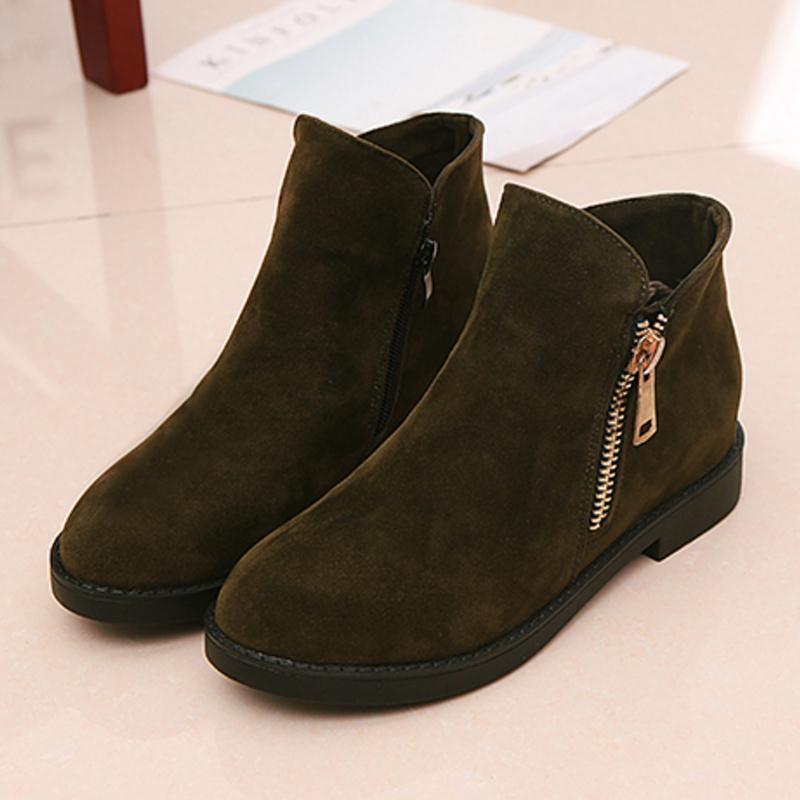 KaiziKarzi Women Flats Boots Zipper Winter Warm Ankle Boots Fashion Simple Ladies Shoes Round Toe Ladies Short Boots Size 35-39 4
