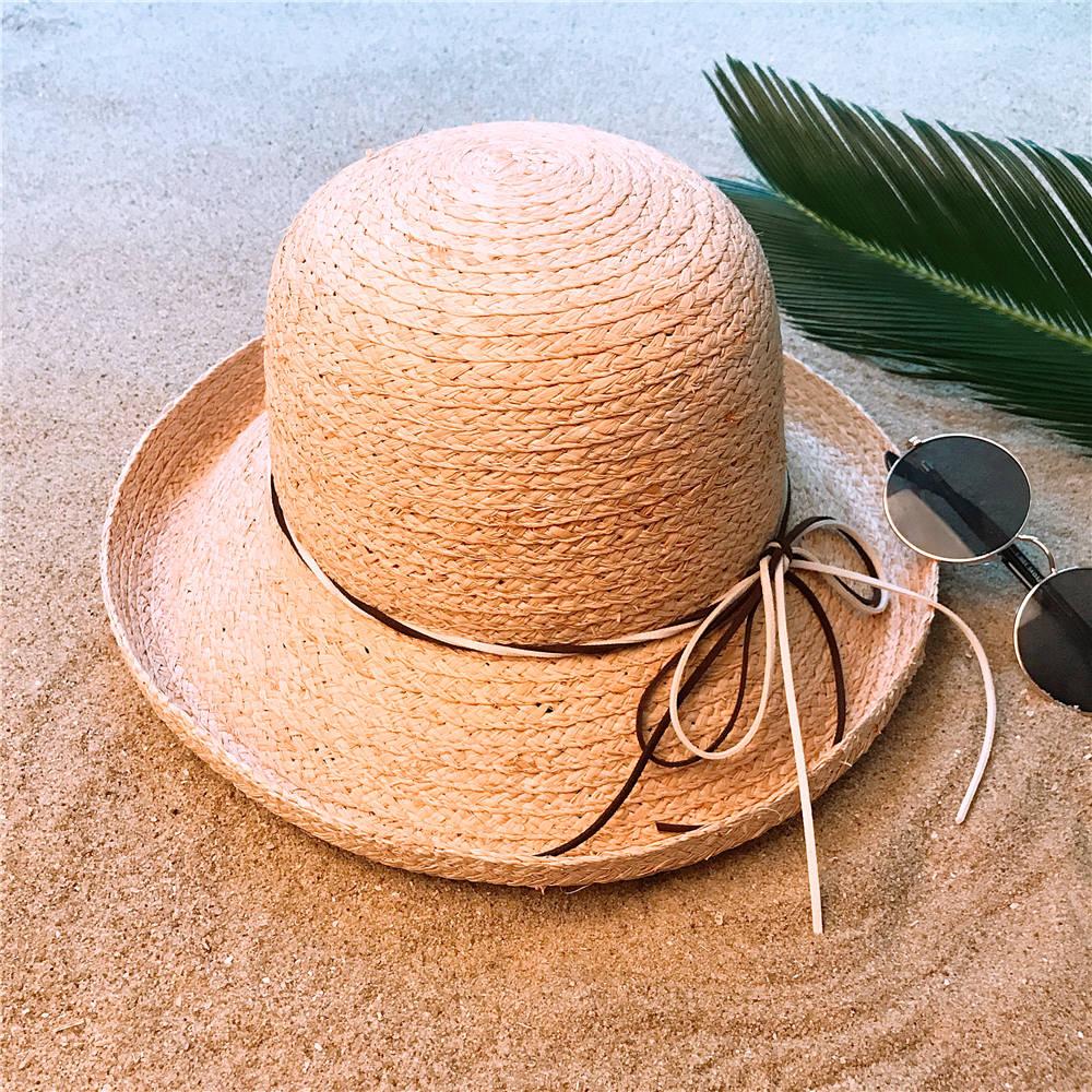 100% Bast Sonnenhut Sommer Frauen Roll-up Krempe Strand Sonnenhut Dome Eimer Sunbonnet Größe 56-58 Cm Modische Und Attraktive Pakete