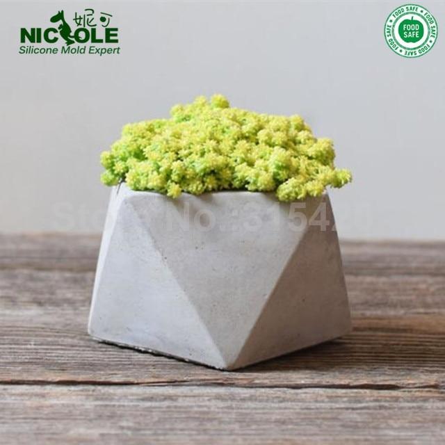 Nicole Silicone Flower Pot Molds Geometric Pots Concrete Cement For Post Vase Mold