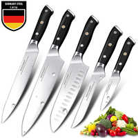 Японские кухонные ножи, 8 дюймов, набор ножей шеф-повара, Германия 1,4116, Высокоуглеродистая Сталь, Santoku, острый нож для рыбалки, ручной работы