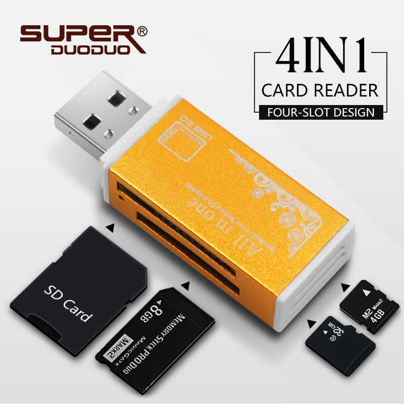أعلى بيع فلاشة مزودة بفتحة يو إس بي قارئ الملونة USB 2.0 جميع/متعددة في 1 ذاكرة محوّل قارئ البطاقات ل مايكرو SD SDHC TF M2 MMC أفضل الهدايا