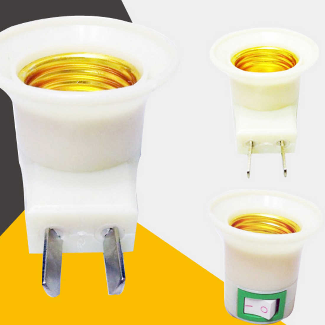 High-quality Floor price 1 PC E27 Female Socket to EU Plug and US Plug Adapter With Power on-off Control Switch High Quality