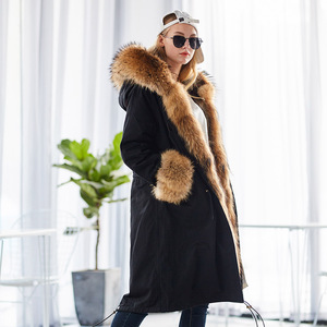 Image 2 - Mao mao kong  Winter Woman natural fur overcoat plus size Women parkas black raccoon fur lining X long warm jacket coats