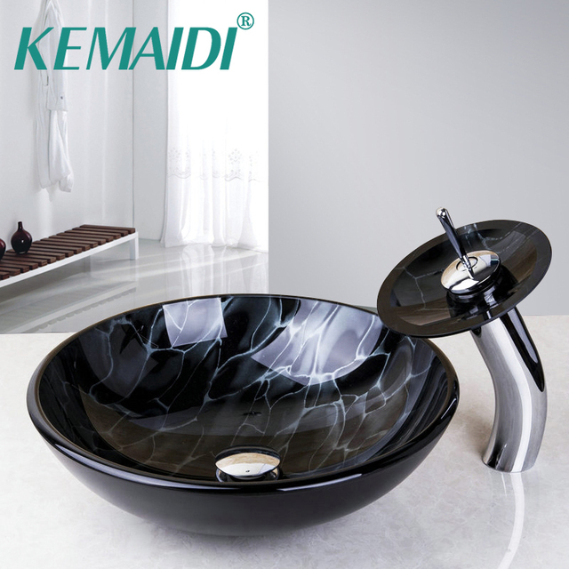 KEMAIDI Bathroom Round Basin Faucets Clear Glass Vessel Sink Basin With  Match Waterfall Faucet U0026Pop