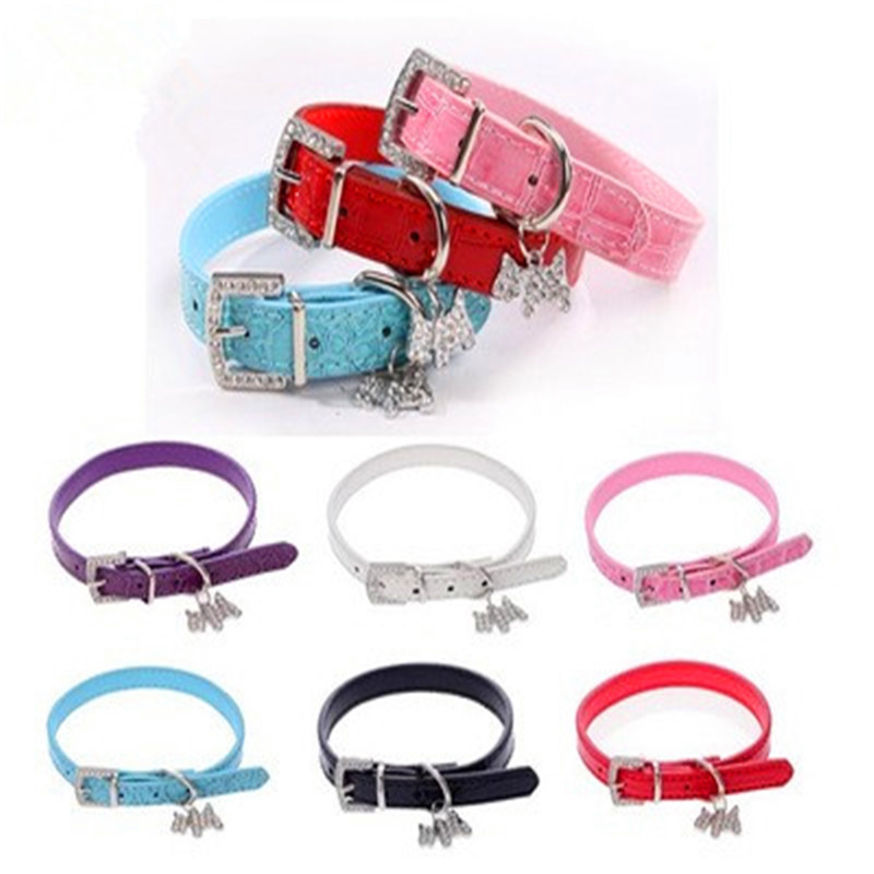 Punk Style Lovely Dog Collar Crocodile Print Små Hund Tillbehör PU Leather Pet Roducts med 5 Färg