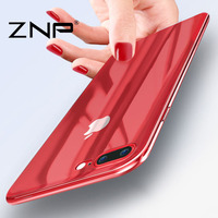For iphone 7 7plus case ZNP Luxury Electroplate soft TPU Silicone Protecti 360 cover cases For iphone 6 7 case red Cover Coque