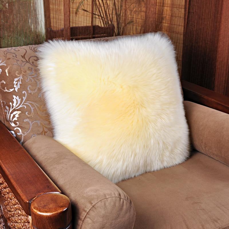 Super Soft Sofa Throw Pillow Cushions Real Sheepskin Throw Pillow Bedroom  Waist Back Cushion Luxurious Genuine Sheepskin Pillow In Carpet From Home U0026  Garden ...