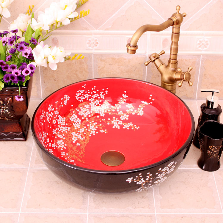 China Painting Red Plum Blossom Ceramic Art Bathroom Vessel Sinks Round Counter Top Hand Painted Porcelain Sink In From Home
