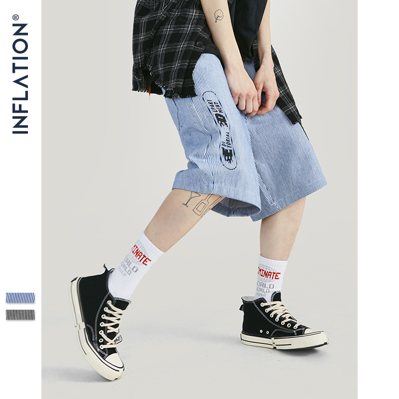 INFLATION New Design Casual Men Shorts Summer Streetwear Loose Stripe Shorts Knee Length Fashion Button Printing Shorts 94356SD