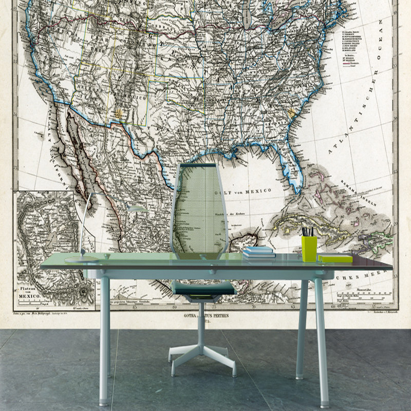 Retro wallpaper,1872 Map of the United States murals for childrens rooms study living room background papel de parede