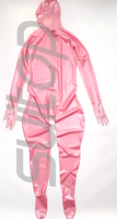 Новый Полностью Защищенный Корпус Латекс комбинезон резиновая zentai с задней 3 молнии перчатки, носки и вытяжки attahced в металлик розовый
