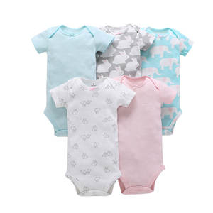 Image 2 - ノースリーブのための夏の服新生児ボーイボディースーツ 2019 新生児服ボディスーツ 5 ピース/セット 6  24 月