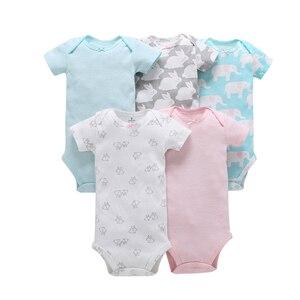 Image 2 - Mouwloze bodysuit voor de zomer baby meisje kleding pasgeboren jongen bodysuits 2019 nieuwe geboren kleding pak 5 stks/set 6  24 maand
