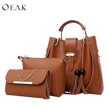 Oeak Women's Shoulder Bag Multi-Piece Set Of Portable Zipper Fashion Package Purse Ladies PU Leather Crossbody Bag