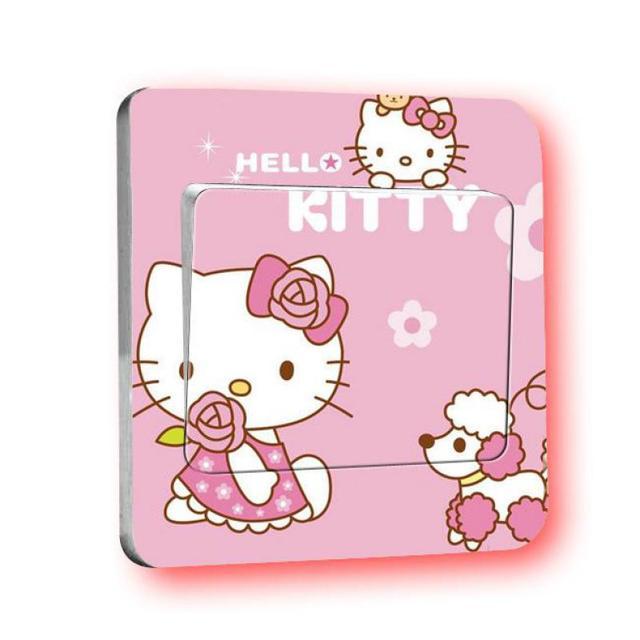 Hello Kitty lekkie naklejki przełączników księżniczka akcesoria do dekoracji domu naklejki ścienne dla dzieci pokoje płytki graniczne do łazienki