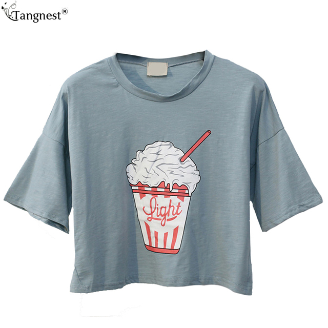 1e42febd3e US $19.98  TANGNEST Cute Harajuku Ice Cream Print T Shirts 2017 NEW Summer  Casual Loose Short Sleeve Tops Women Crop O neck Tee WTS1075-in T-Shirts ...