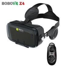 เดิมสีดำBOBOVR Z4หมวกกันน็อคหนัง3Dเสมือนจริงกระดาษแข็งแว่นตาVRชุดหูฟังกล่องสำหรับ4-6 'มือถือ+ระยะไกลควบคุม