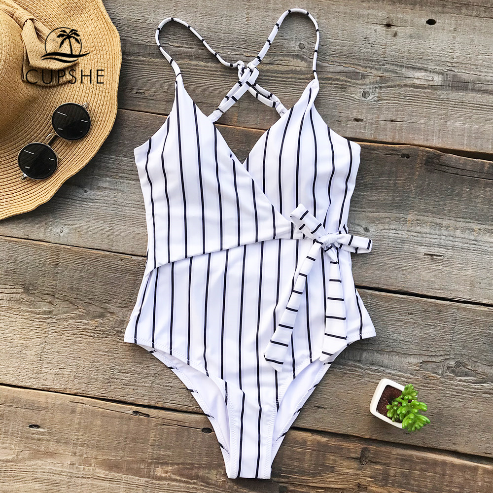 CUPSHE Stay Young Stripe One-piece Swimsuit Women V neck Sexy Backless Tied Bow Monokini 2018 Beach Bathing Suit Swimwear bandage vintage beach wear one piece swimsuit women backless trikini deep v neck monokini triquini sexy bathing suit page 6