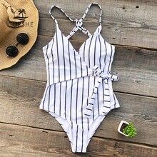 7c368d4038 CUPSHE Stay jeune rayure une-pièce maillot de bain femmes col en V Sexy dos  · 4 Couleurs Disponibles