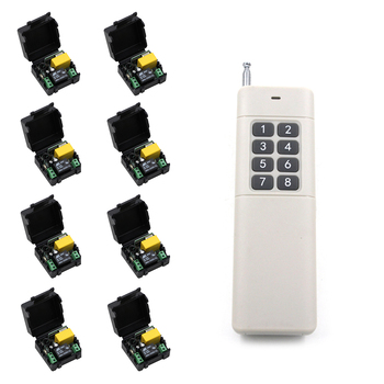 0-500m Mini Size 220V 1CH 1CH 10A Wireless Remote Control Switch Relay Receiver +8CH Transmitter System 315 / 433.92MHz Toggle