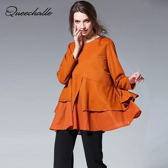 dbd7402c64e Black Orange Red Color Big Size Loose Women Shirts Spring Asymmetrical  Ruffles Long sleeve A-line Shirt 3XL 4XL Plus Size Tops