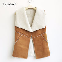 Faroonee Spring Women Suede Leather Faux Fur Herringbone Vest Jacket Lady Fall Sleeveless Open Front Fake Fleece Wasitcoat(China)