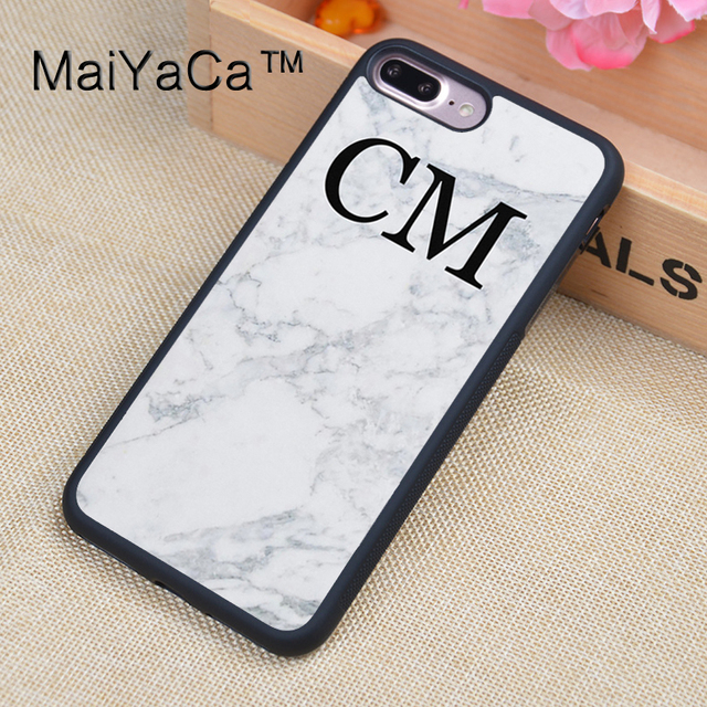 best authentic 1f348 b381e US $4.34 5% OFF|MaiYaCa Custom Initials Monogram White Marble Cell Phone  Cases For iphone 8 Plus For Apple iPhone 8Plus TPU Cover Cases Coque-in ...