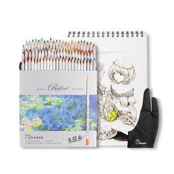 Marco Raffine 72 kolory ołówek nietoksyczny na bazie oleju dzieła sztuki kolorowe kredki zestaw + A4 szkicownik + rysunek rękawica jako prezent na