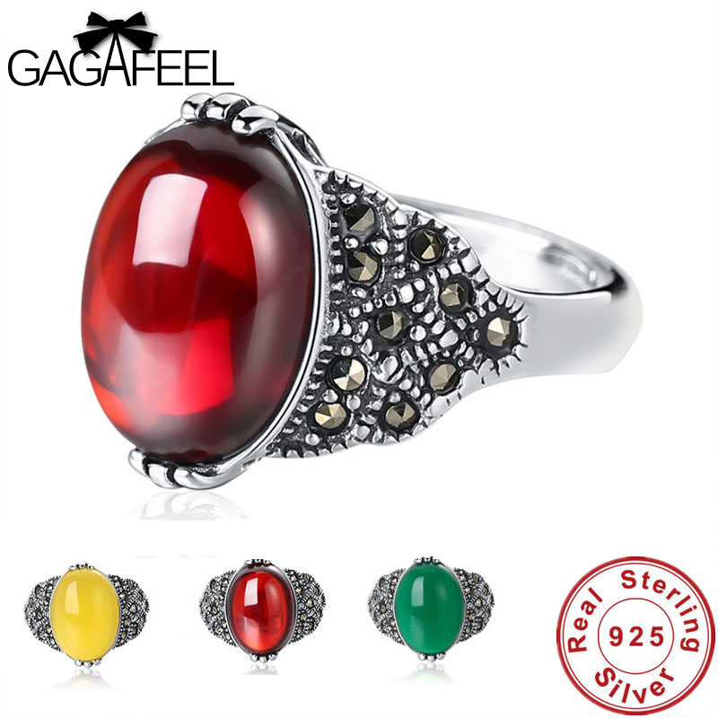 GAGAFEEL Antique Thai Silver Women Rings Fashion Red Yellow Green Natural 925 Sterling Silver Jewelry Female Ring Gifts Dropship