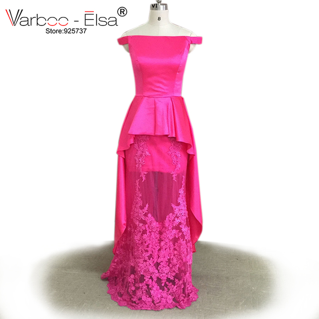 Elegant Red Evening Gown Lace Applique Ruffles Floor Length Long ...