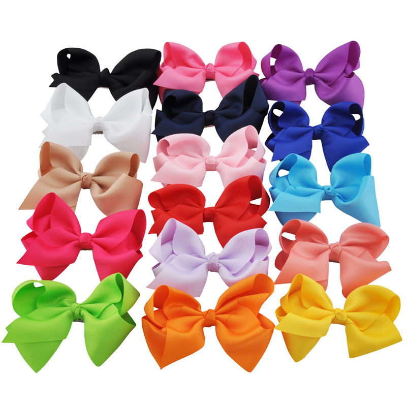16pcs 4.7 Inch Fashion Big Hair Ribbon Bows For Girls' Hair Accessories Wholesale Boutique Large Bow Hair Clips Kids Hairpins 1pcs 4 7 inches boutique kids hairpins headwear big hair clips with ribbon bows for girls babies barrettes children accessories