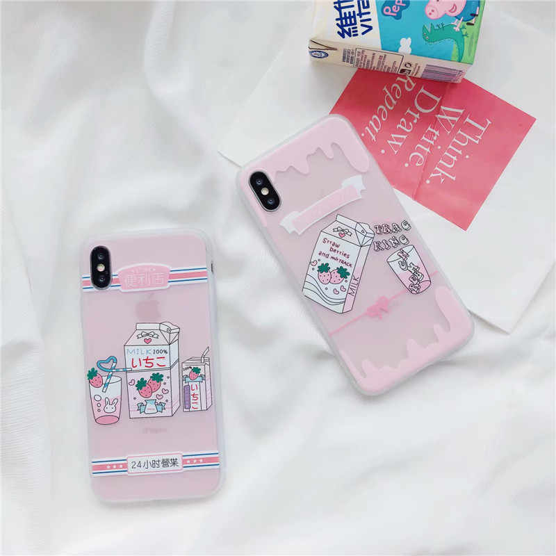 3D Cartoon Strawberry Milk Girl Silicon case for iPhone X 6 7 8 6s plus Kawaii Milky TPU Back Cover phone cases