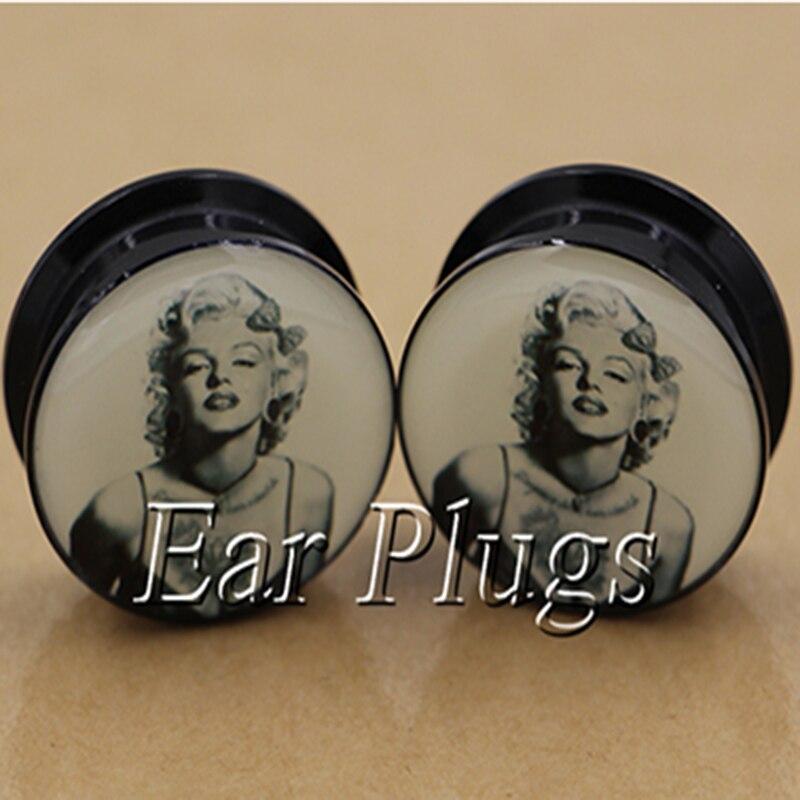 1 pair punk Monroe ear plug gauges tunnel acrylic screw flesh tunnel body piercing jewelry PAP0368