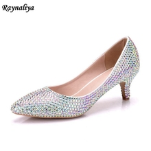 2018 Spring Colorful Rhinestone Heels Pointed Toe Customized Crystal Wedding Shoes Fashion Graduation Party Prom XY-A0040