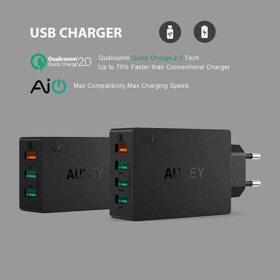 AUKEY-Quick-Charge-2-0-USB-Wall-Charger-3-Port-Smart-Fast-Turbo-Mobile-Charger-For