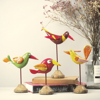 Pop Art Creative Painting Handmade Jungle Funny Bird lovely Ornaments Mini Decoration Home Craft Best Gift
