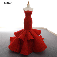 YeWen Luxury Strapless Burgundy Trumpet Mermaid Long Lace Formal Evening Dress 2018 High end Bride Gown Real Photo