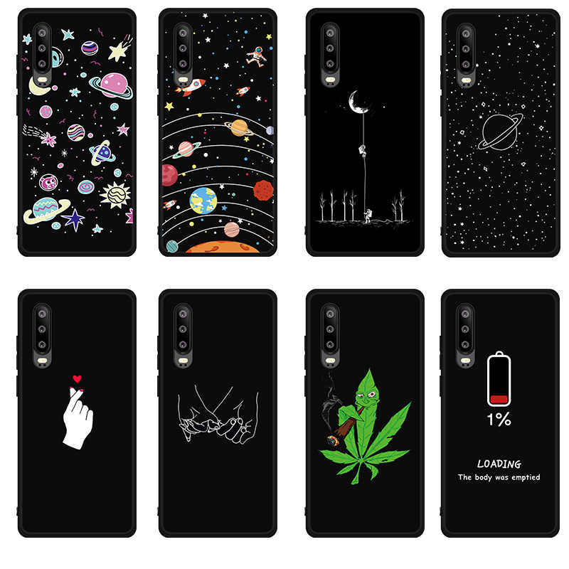 Silicone Moon Pattern Case For Huawei P30 Pro P30 Art Cover Black Love Funda For Huawei Honor 8X Max 8C 8A Note 10 9 Lite Cases