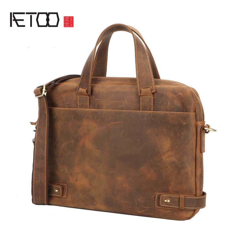 AETOO Crazy Horse Genuine Leather Mens Bags Crossbody Bags Zipper vintage messenger bag mens shoulder bag genuine leatherAETOO Crazy Horse Genuine Leather Mens Bags Crossbody Bags Zipper vintage messenger bag mens shoulder bag genuine leather
