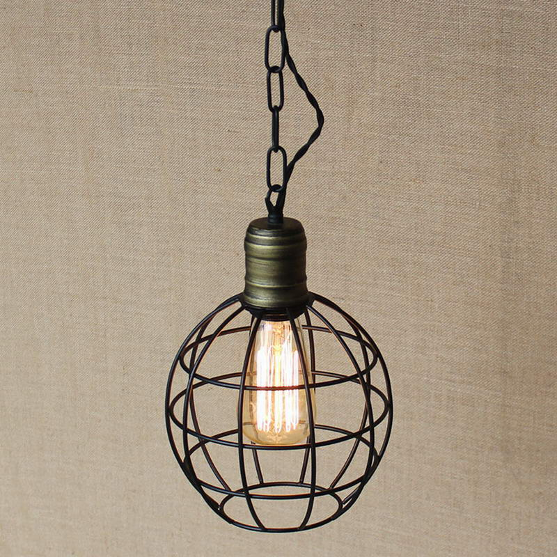 retro black metal wire round ball indoor industrial pendant lamp Vintage Edison Pendant Lights Droplight Lighting For Bar brass half round ball shade pendant light led vintage copper wooden lighting fixture brass wood fabric wire pendant lamp