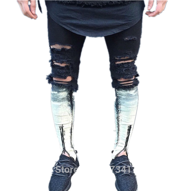 Ripped patchwork Zipper Jeans For Men Skinny Distressed Slim Famous Brand Designer Biker HipHop Swag Tyga White Black Slim Jeans mens skinny biker jeans runway distressed slim elastic jeans hiphop washed men a circle of zipper and side pleated black jeans