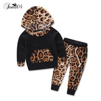 2018 Newborn Baby Girls Clothes 2 Pieces Sets Spring Autumn Infant Print Hooded Sweatshirts Tops Pants