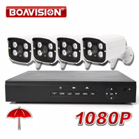 4CH NVR System Security CCTV NVR 1080 4Pcs Recorder H.264 Outdoor CMOS 2MP 1080P IP Camera ONVIF Bullet +DC Power,20M Cable