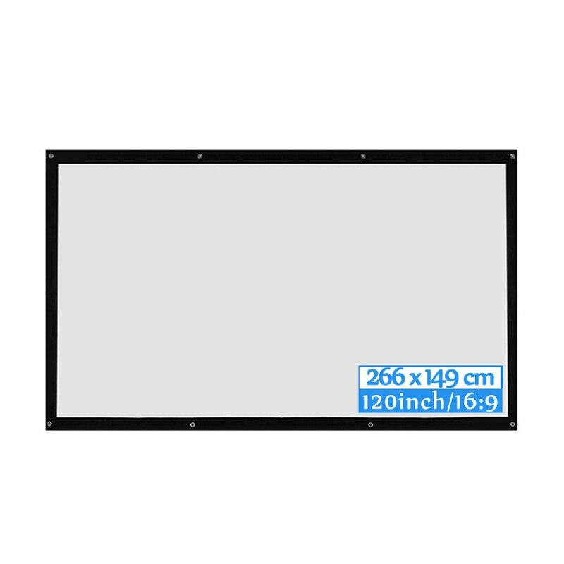 ALLOYSEED portátil 60/72/84/100/120 pulgadas 3D HD pared pantalla de proyección lienzo 16:9 pantalla de proyector LED para cine en casa