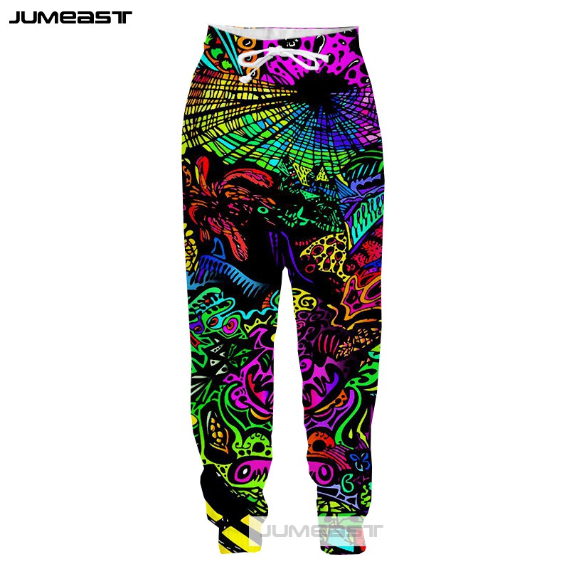 Jumeast Fashion 3D Printed Psychedelic Abstract Men/Women Pants Colorful Totems Sport Loose Size Novelty Long Pants Line Robot