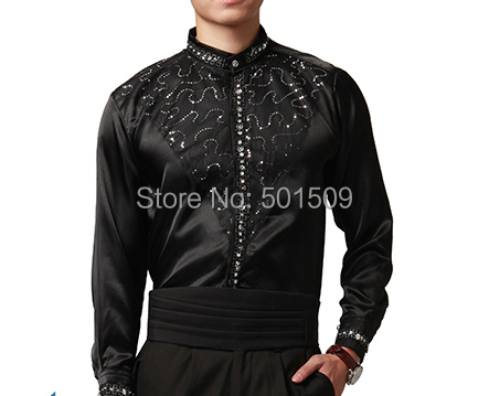 Buy free shipping sequins beading collar for Black tuxedo shirt for men