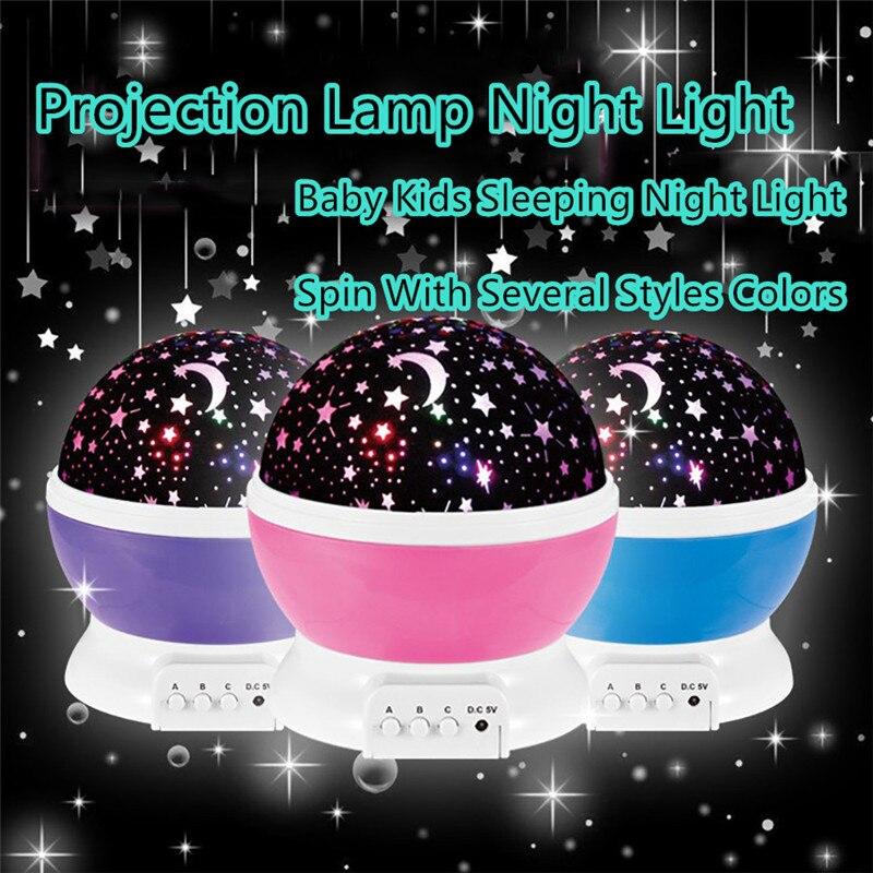 ZjRight Romantic Rotating Spin Night Light Projector Children Kids Baby Sleep stage Light Sky Star Master USB 5V dj disco light
